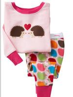 Children hot sale long sleeve Hedgehog cartoon winter cotton sleepwear sets soft pijamas pyjamas clothes suit for kids girls