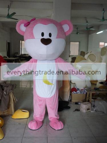 NEW 2014 Cartoon Character Adult cute big head pink bear Mascot Costume Fancy Dress Christmas costume(China (Mainland))