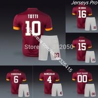 2014 Italian serie A Caproma home maroon soccer jerseys & short football uniforms Totti de rossi pjanic nainggolan strootman