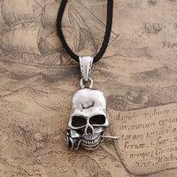 The Rose of Death Skeleton Pendant Necklace Retro Punk Gothic Jewelry Titanium Alloy Nacklace (Min order 1 piece)