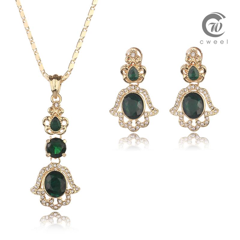 Statement Necklace Pendant Earring African Fashion Big Jewelry Sets Women Wedding Gorgeous Vintage Costume jewellery Set(China (Mainland))