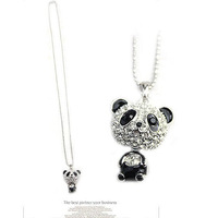 Top quality ,Fashion Lovely Cute Full CZ Diamonds long sweater chain Panda Necklace ,free shipping,best gift for Children