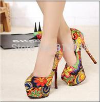 14CM high heel women's flower cloth material pumps,party dresses pumps,size 35,36,37,38,39