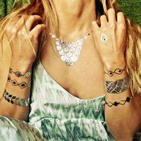 5pcs/lot 3Colors  Waterproof Anti-sweat Flash Metallic Gold Temporary Tattoos Bracelet Cherries Diamond Chest Gold Silver Black