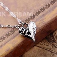 The Broken Heart Pendant Necklace Retro Punk Gothic Vintage Retro Jewelry Titanium Alloy Nacklace (Min order 1 piece)
