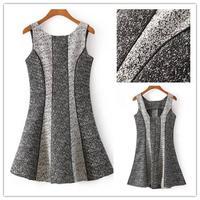 Free shipping wind-fall winter 2014 new ladies vest dress O neck backless fashion colour block woolen petal dress