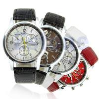 D19  Fashion Faux Leather Strap Round Dial Quartz Men's Wrist Watch New Gift