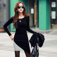 2014 autumn new Women Korean bottoming dress suit thin package hip Slim hedging long-sleeved dress big yards