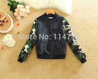High Quality! Fashion women winter coat 2014 NEW hot-selling korean style long sleeve warm slim Camouflage veleve coat 2396