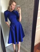 hot slae women dress 2014 new fashion autumn and winter dress o-neck half sleeve dress soild color casual knee-length dress