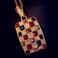 Top quality ,Luxury Queen colorful Austrian crystal sweater chain necklace collarbone chain ,free shipping