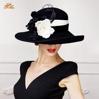 2014 New Winter big flowers elegant wool fedora hat for women large brim balck purple party church fashion designer ladies hat