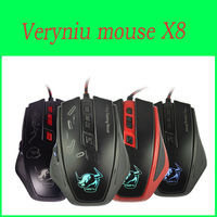 Very Niu Brand Newest Cool Gaming Wired Leftscroll Mouse 2400 DPI interface Adjustable Desktop PC Laptop Air USB Mouse X8