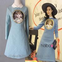 2014 news high quality Porcelain doll folder cotton long-sleeved dress
