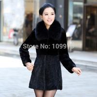 Brand newWarm Women Luxury Mink Fur Sleeve Long Coat Jacket Outwear Fur Collar UK8-16