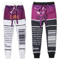 Fashion Digital barcode print men /boy pants new fashion 3D joggers sport trousers autumn sweatpant