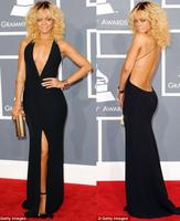 vestido de festa Sexy Backless V-neck Off the Shoulder Split Black Mermaid Evening Dresses Cheap Long Evening Dress