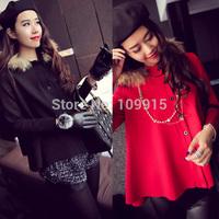 Brand newLuxury Womens Cloak Long Sleeve Jacket Faux Fur Collar Hooded Button Coat Cape