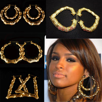 Fashion 2014 Free Shipping Gold Plated Earrings Bamboo Earrings exaggerated Golden Circle Hip-hop Nightclub Earrings