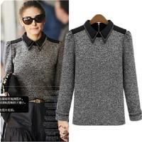 2014 autumn women's long-sleeve sweater wool sweater small shirt patchwork turn-down collar slim basic shirt