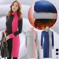 Women's color block thickening winter turtleneck one-piece dress patchwork basic plus velvet dress 1867