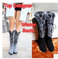 Luxury Designer Real Genuine Leather Women Knee High Heels Snow Boots Fashion Rabbit Fur Lacing Ladies Platform Brand Tall Shoes