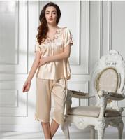 Luxury Embroidered Lace Short Sleeved Silk Pajama Suit Tracksuit set Bow Pijama Women Sleepwear Robe femininos inverno F50