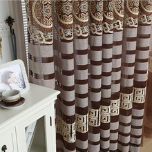 Vega chenille modern embroidered curtains chinese style quality cutout finished products curtains(China (Mainland))