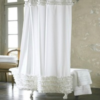 180*180CM handmade lace shower curtain exported quality polyester bath curtain with 12 pieces metal hooks for free LM001