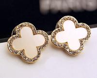 New Cute Fashion Clover Earrings 12.5mm Full Rhinestones Flower Earrings With white Shell For Women