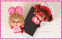 WJ219 Fashion Lovely Plush Doll Toy 9CM Monchhichi Car Bag Mobile Phone Ornament Pendant Style Supernova Sale Baby Birthday Gift