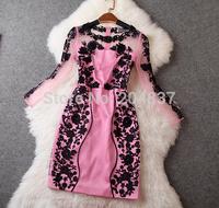 New arrival 2015 women's spring gauze three-dimensional embroidery formal dress evening dress Dearesy fashion
