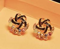 New Fashion Star Earrings Colorful Rhinestones Flower Earrings Intertwined Bowknot Earrings For Women