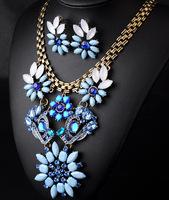 imitate pearl flower necklace set 2014 vintage women jewerly wholesale fashion statement jewelry set