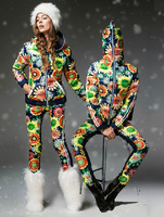 Euro Fashion Women Sunflower Down Coat White Duck Winter Jacket with Pants 2015 New Design Female Sport Snow Suits