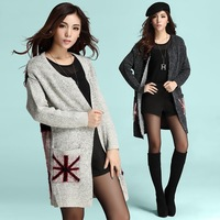 Free Shipping Tide Meter Word Flag style High-end Fashion Mohair Casual Knit Sweaters In Winter Long Casual Thick Sweater Coat