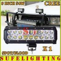 FREE DHL SHIP 9INCH 54W CREE LED LIGHT BAR FLOOD FOR OFF ROAD TRUCK LED BAR IP67 4WD ATV UTV SUV LED WORK LIGHT BAR 36W 72W