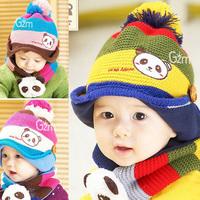 2015 Autumn / Winter Kids Handmade Warm Knitted Super Cute Panda Hat & Muffler Set Children Baby Infant Cap