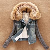 2014 new women spring Autumn short denim jacket  winter slim yarn large fur collar lamb cotton denim plus size outerwear jeans