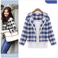 Fashion autumn 2014 women's plaid short blazer cardigan twinset blazer