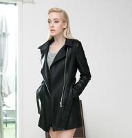 2014 Women Luxury autumn/winter PU leather long slim fit coat overcoat