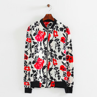 2014 girl vintage polyester floral prints bomber jackets women casual standing collar long sleeves zipper fly coats 433927
