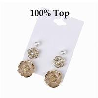 Min Order 9$! Delicate 3 Pairs Imitation Pearl Flower Stud Earrings Jewelry