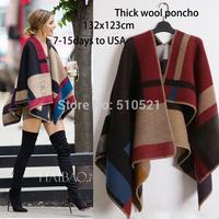 2014 thick winter Wool blend Poncho / women cashmere scarves  hijab /blanket cape shawl wrap cloak coat / women accessory