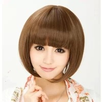 High temperature wire simulation of Bobo short hair dance beauty scholar Brown wig.