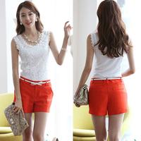 Blusas Femininas 2014 Summer Women Blouse Lace Vintage Sleeveless White Crochet Casual Shirts Tops Plus Size S~XXL 5461C.