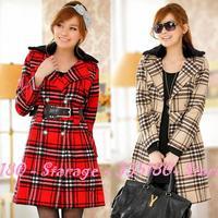L-XXXL Fashion Women 2014 England Plaid Fur Collar Woolen Long Outerwear Women Double Breasted Coat Ladies Overcoat 806