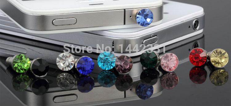 SILVERY Diamond shiny Bling cute 3.5mm universal dust Plug Earphone Jack Plug Headset Stopper Cap