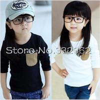 Children Clothing 2014 Korean Cartoon Boys Girls Long-sleeved T-shirts Alphabet Stickers Pocket T-shirt Bottoming Shirts