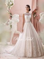 SL-020989 Modest A-line Sheer Sweetheart Appliqued Lace Beaded Belt Backless Wedding Dress 2015